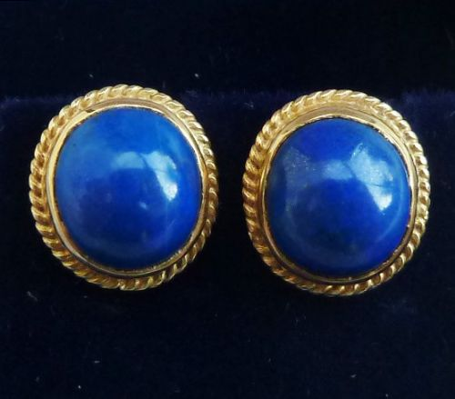 beautiful victorian 18ct gold lapis lazuli stud vintage antique earrings