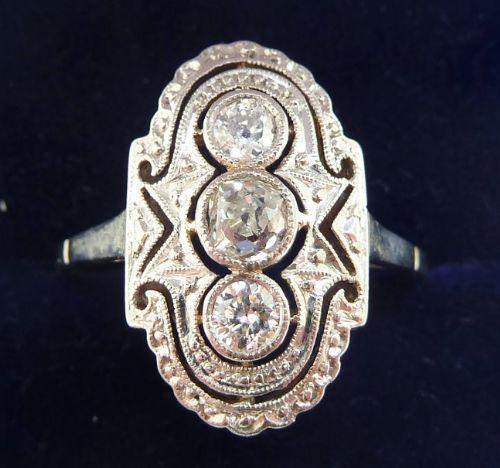 gorgeous art deco 18ct white gold diamond three stone vintage antique ring