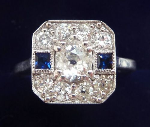 beautiful 18ct 18k white gold art deco sapphire and 110ct diamond vintage antique cluster ring