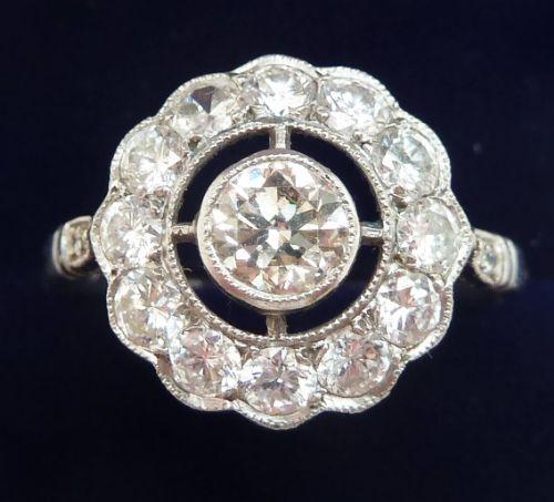 big beautiful art deco platinum 145ct diamond cluster vintage antique target ring