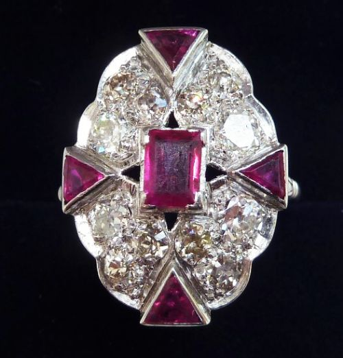 stunning art deco platinum 13ct ruby and 128ct diamond elongated cluster ring