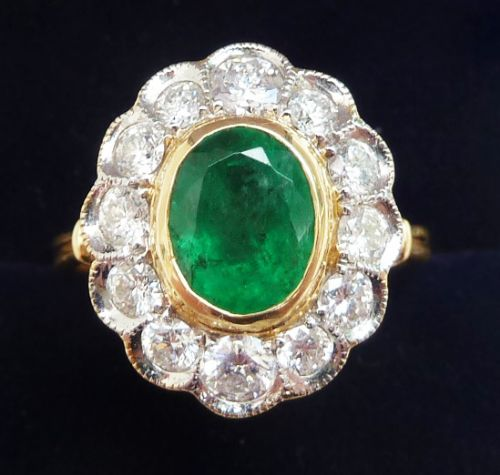 stunning art deco 18ct and white gold emerald and diamond vintage antique cluster ring