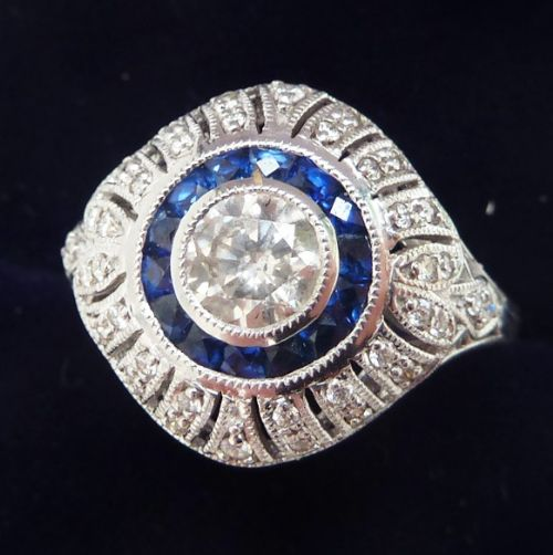 gorgeous art deco 18ct 18k white gold diamond and sapphire vintage antique target ring