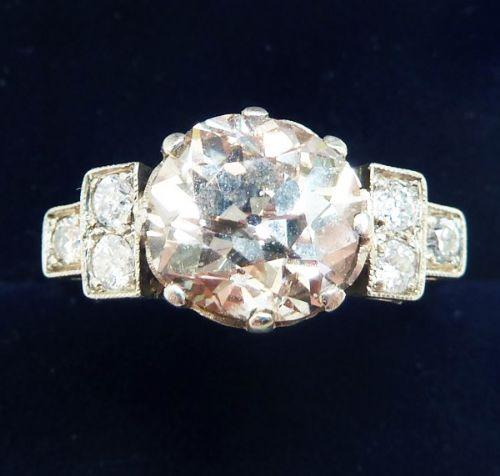 stunning art deco platinum 305ct old cut diamond solitaire vintage antique engagement ring