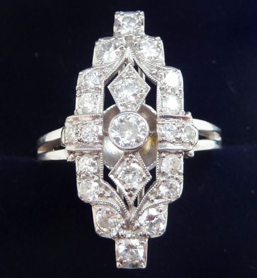 stunning art deco 18ct 18k white gold 105ct diamond elongated cluster vintage antique ring