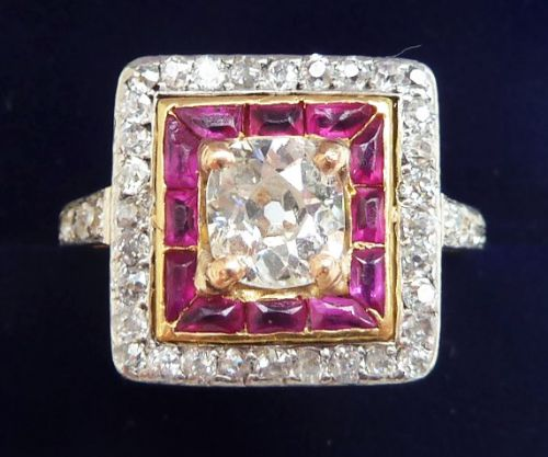 stunning art deco 18ct and white gold ruby and 129ct diamond cluster vintage antique ring