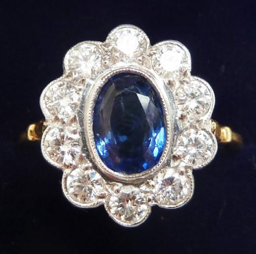gorgeous art deco 18ct 18k and white gold 150ct sapphire and diamond vintage antique cluster ring