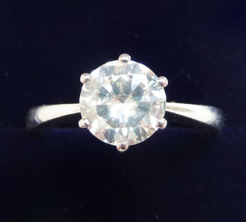 stunning art deco platinum 144ct diamond solitaire vintage antique engagement ring