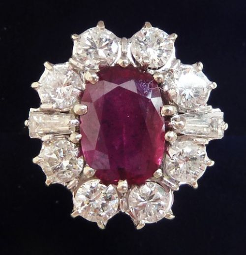 fabulous art deco 18ct 18k white gold 275ct ruby and 160ct diamond vintage antique cluster ring