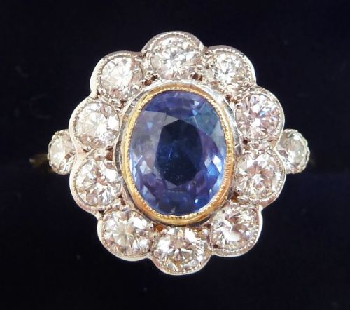 gorgeous 18ct 18k and white gold ceylon 120ct sapphire and diamond cluster ring
