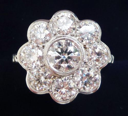 stunning art deco 18ct 18k white gold 270ct diamond daisy cluster vintage antique ring