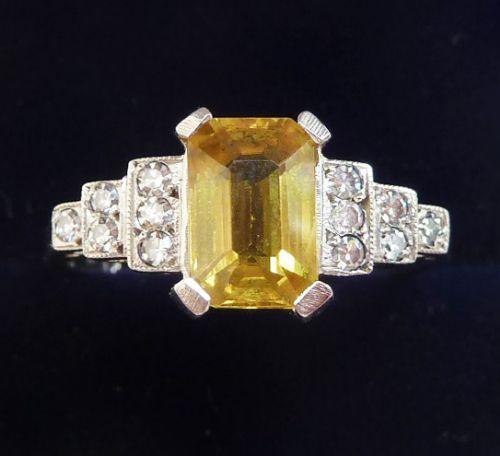 gorgeous art deco platinum 150ct emerald cut yellow sapphire and diamond vintage antique ring
