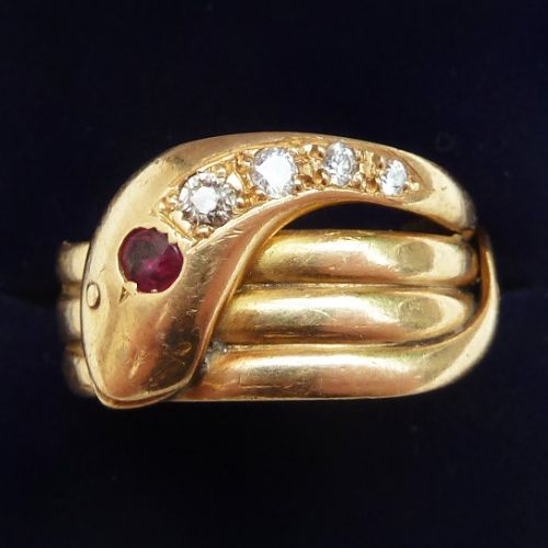 big beautiful art deco 18ct gold ruby and diamond snake ring c1918 q12