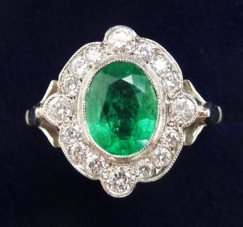gorgeous art deco 18ct white gold 150ct emerald and diamond vintage antique cluster ring