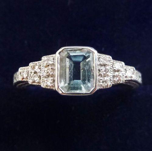 beautiful art deco 18ct white aquamarine and diamond vintage antique ring