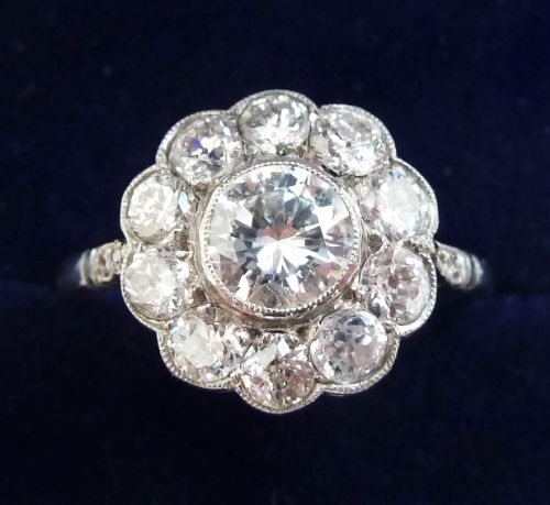 gorgeous art deco platinum 152ct diamond daisy vintage antique cluster ring