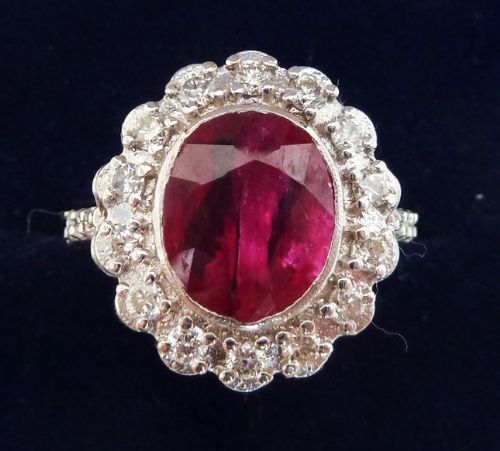gorgeous art deco 18ct 18k white gold 330ct ruby and diamond vintage antique cluster ring