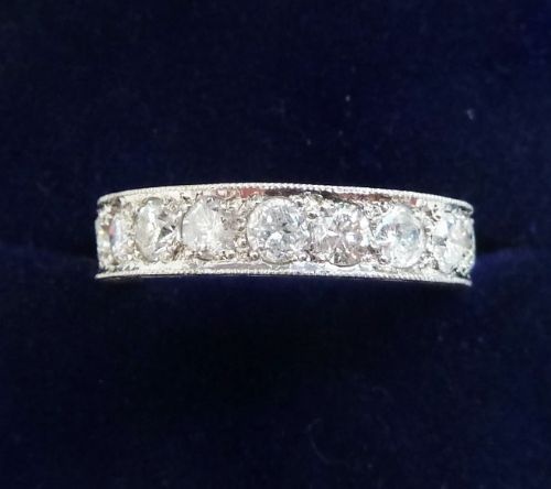 stunning art deco platinum 152ct diamond full vintage antique eternity ring small size k