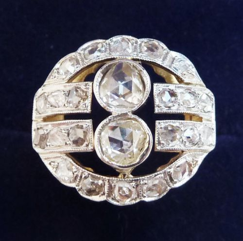 stunning edwardian 18ct 18k and white gold 128ct rose diamond vintage antique cluster ring small size j
