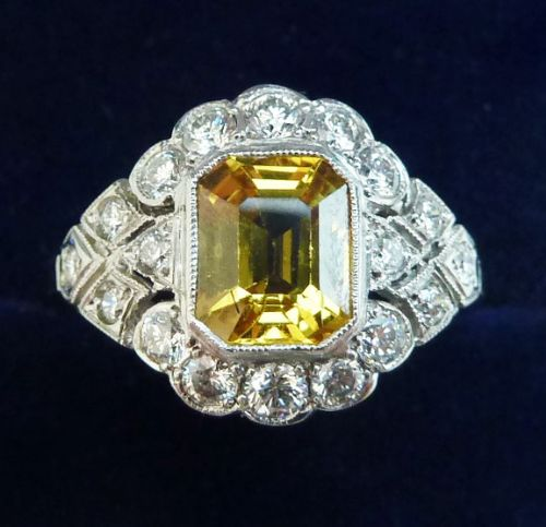 gorgeous platinum 2ct emerald cut yellow sapphire and diamond vintage antique cluster ring