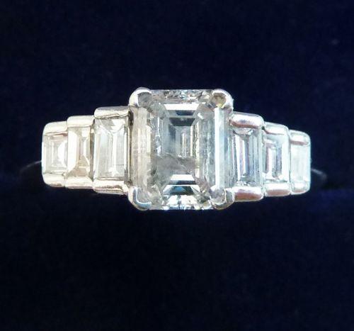 fabulous art deco platinum emerald cut diamond and baguette vintage antique engagement ring