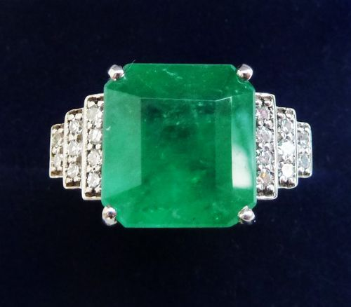 stunning art deco 18ct white gold 550ct emerald and diamond vintage antique cluster ring