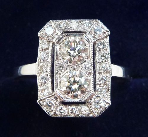 gorgeous platinum art deco 075ct diamond vintage antique cluster ring