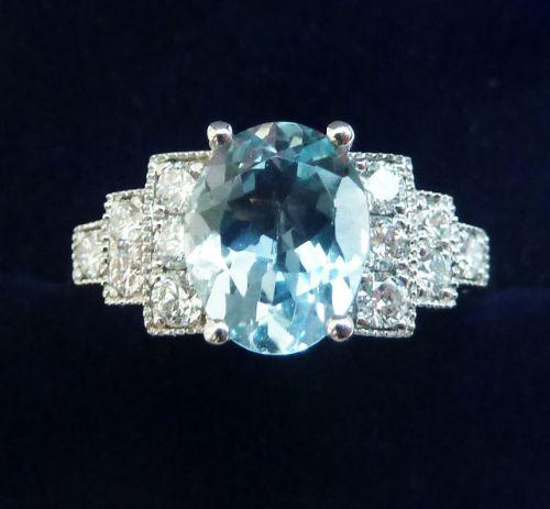 gorgeous art deco 18ct 18k white gold aquamarine and diamond vintage antique cluster ring