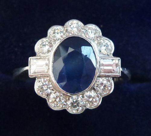 gorgeous platinum art deco 130ct sapphire and diamond baguette vintage antique cluster rin