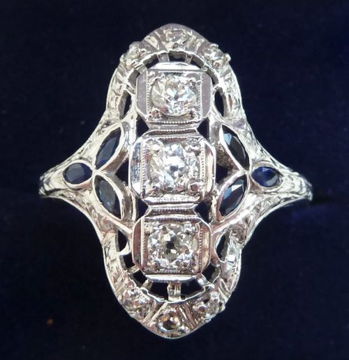 big beautiful edwardian 18ct 18k white gold sapphire and rose diamond vintage antique ring size v