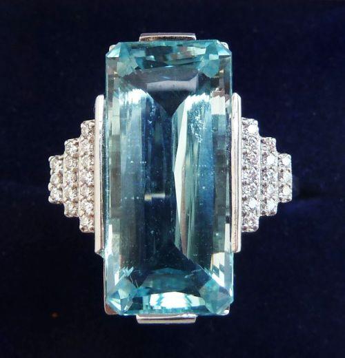 fabulous art deco 18ct 18k white gold 12ct elongated aquamarine and diamond vintage antique ring