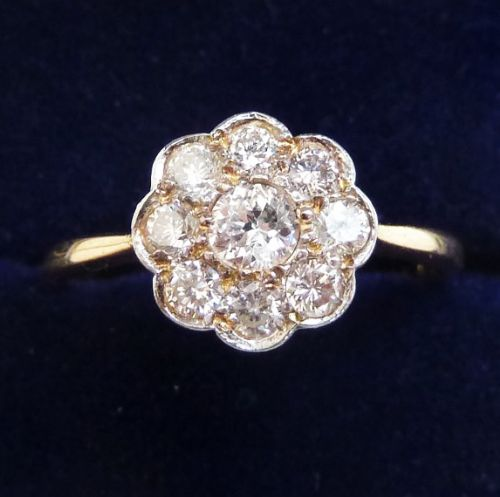 beautiful art deco 18ct 18k and white gold 050ct diamond vintage antique daisy ring