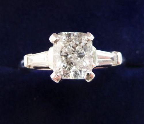 stunning platinum art deco 140 cushion cut diamond and baguette solitaire vintage antique ring