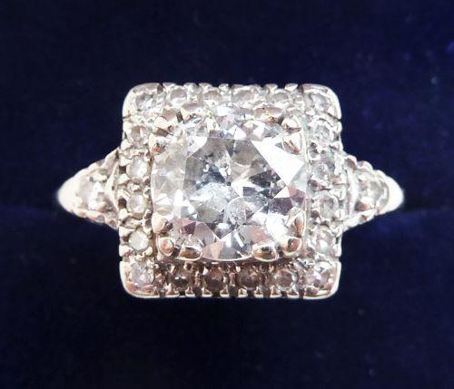 stunning art deco 18ct 18k white gold 180ct diamond solitaire vintage antique engagement ring
