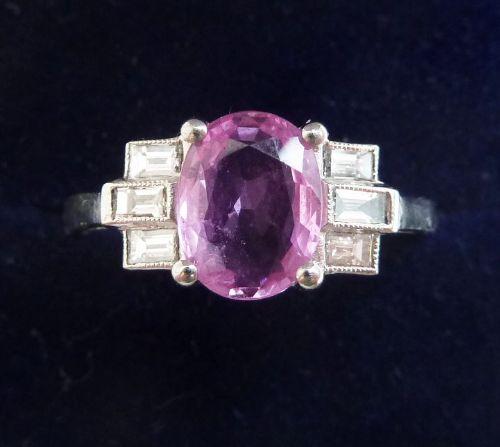 gorgeous platinum art deco 155ct pink sapphire and baguette diamond vintage antique ring