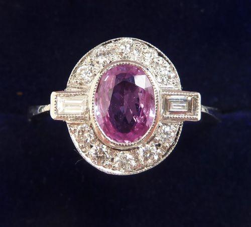 stunning platinum art deco 1ct pink sapphire and baguette diamond vintage antique ring