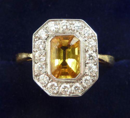 gorgeous art deco 18ct gold platinum yellow sapphire and diamond vintage antique ring