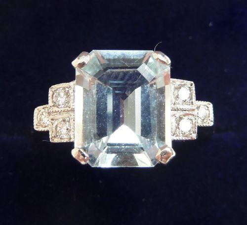 stunning art deco platinum 3ct emerald cut aquamarine and diamond vintage antique ring