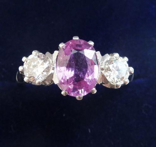 gorgeous art deco platinum pink sapphire and diamond three stone vintage antique trilogy ring
