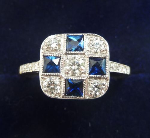 gorgeous art deco 18ct 18k and white gold sapphire and 058ct diamond vintage antique ring
