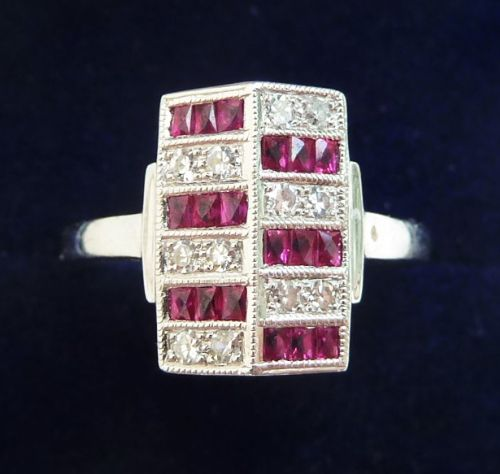gorgeous art deco 18ct 18k white gold ruby and diamond vintage antique ring