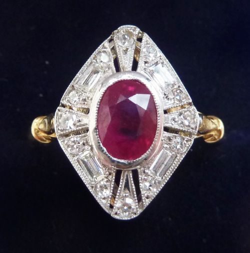 beautiful art deco 18ct 18k and white gold 1ct ruby and baguette diamond vintage antique ring