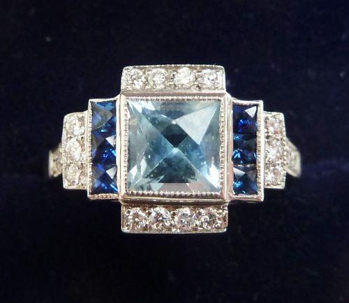 beautiful art deco platinum 1ct aquamarine sapphire and diamond vintage antique ring