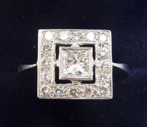 gorgeous art deco platinum 088ct diamond vintage antique cluster ring