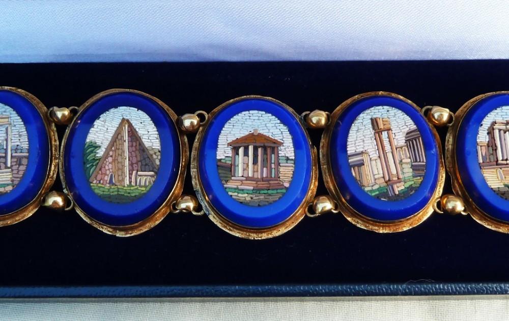 stunning 18ct 18k gold victorian blue enamel micro mosaic vintage antique bracelet
