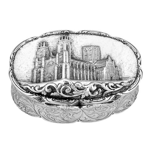 a stunning and rare victorian silver castletop table snuff box by nathaniel mills york minster dated 1845