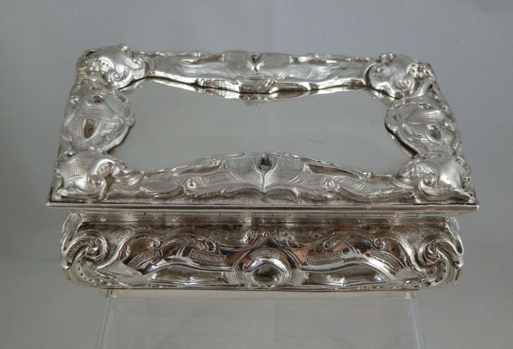 a large victorian silver table snuff box dated 1858