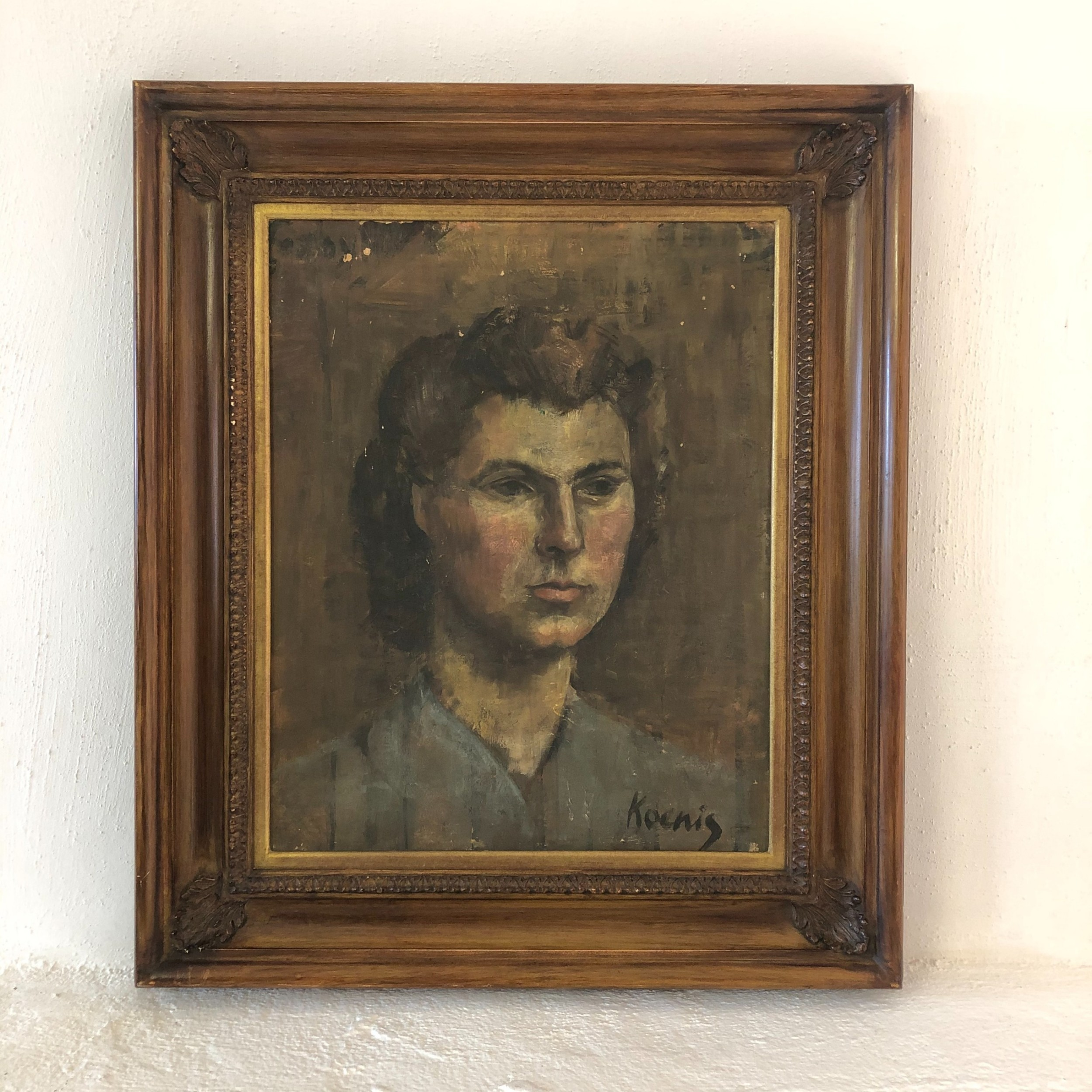 beautiful female portrait oil painting on canvas framed signed