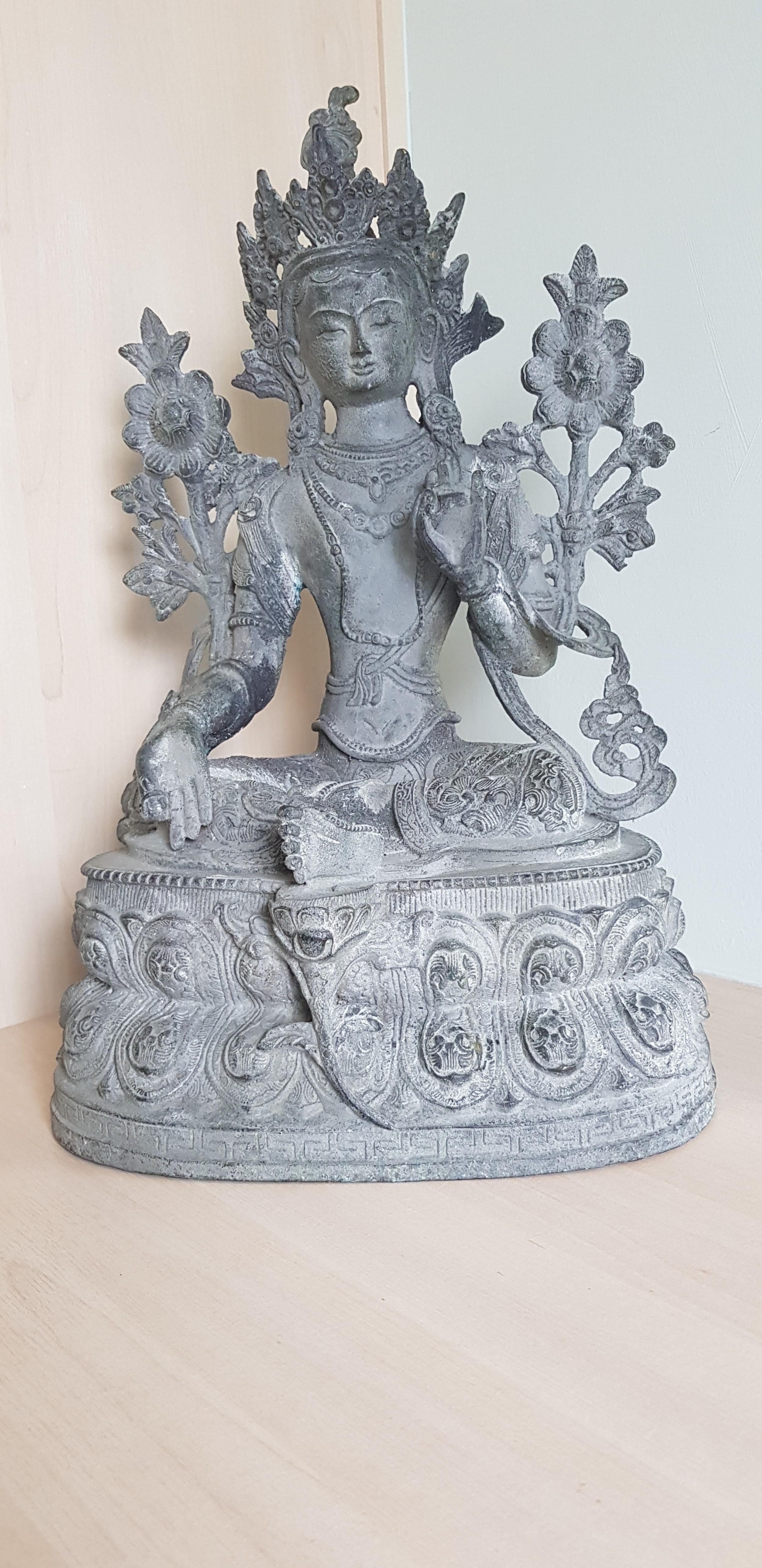 superb large bronze figure of a buddha