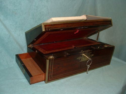exceptional fully bound mahogany writing box - photo angle #2